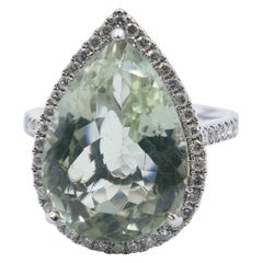 "18 Carat White Gold Prasiolite and Diamond ""Pear"" Ring"