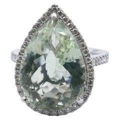 """18 Carat White Gold Prasiolite and Diamond """"Pear"""" Ring"""