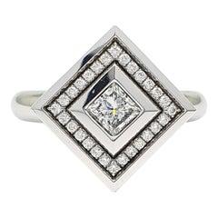18 Carat White Gold Ring part with an 0.53 Carat Princess Cut Diamond & Diamonds
