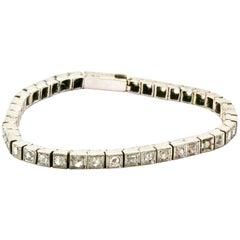 18 Karat Weißgold Rosenschliff Diamant Viktorianisches Tennisarmband