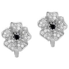 18 Carat White Gold Round Brilliant Cut Black and White Diamonds Earrings