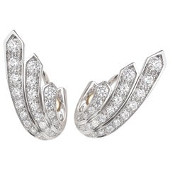 18 Carat White Gold Round Brilliant Cut Diamond Earrings