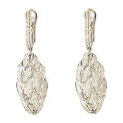 18 Carat White Gold Round Brilliant Cut Diamonds Dangle Earrings