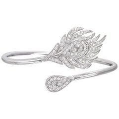 18 Carat White Gold Round Cut Diamond Bangle Bracelet