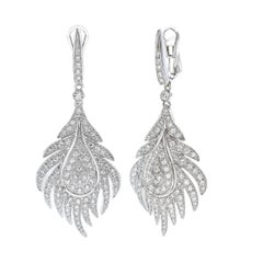 18 Carat White Gold Round Cut Diamond Dangle Earrings
