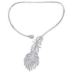 18 Carat White Gold Round Cut Diamond Necklace