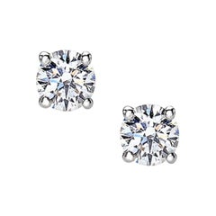 18 Carat White Gold Round Cut Diamonds Stud Earrings
