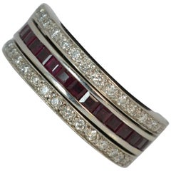 18 Carat White Gold Ruby Sapphire and Diamond Full Eternity Day Night Ring
