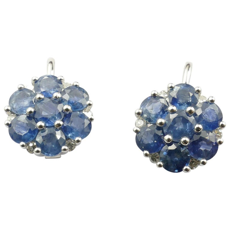 18 Carat White Gold Sapphire and Diamond Earrings For Sale