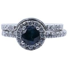 18 Carat White Gold Sapphire and Diamond Wedding Ring Set