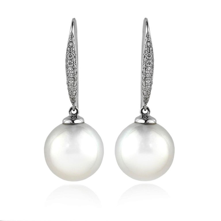 18 Carat White Gold South Sea Pearl and Pavé Diamond Drop Earrings For Sale