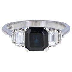 18 Carat White Gold Square Emerald Cut Sapphire Diamond Cocktail Ring