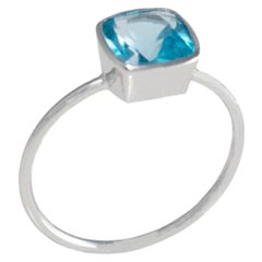 18 Carat White Gold Swiss Blue Topaz Ring