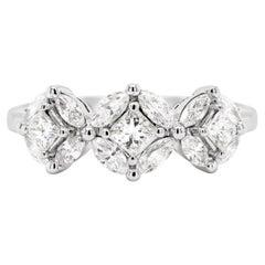 18 Carat White Gold Trilogy Diamond Cluster Engagement Ring