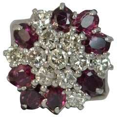 18 Carat White Gold VS Diamond and Ruby Cluster Ring