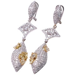 18 Carat White Gold Yellow and White Diamond Drop Earrings