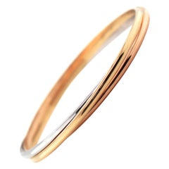 18 Carat White, Yellow and Rose Gold Russian Bangle