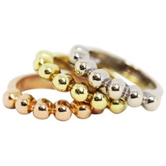 18 Carat White, Yellow and Rose Gold Stackable Bubble Rings
