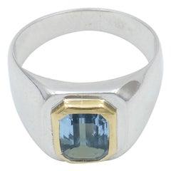 18 Carat Yellow and White Gold Aquamarine Modern Ring