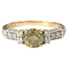 18 Carat Yellow and White Gold Fancy Yellow Diamond Ring
