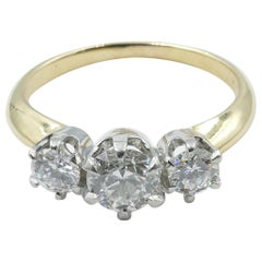 18 Carat Yellow and White Gold High Level, E/F Diamond Trilogy Ring