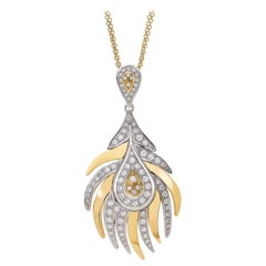 18 Carat Yellow and White Gold Round Cut Diamond Pendant Necklace