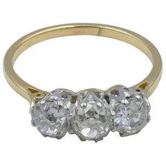 18 Carat Yellow and White Gold Vintage Diamond Trilogy Ring