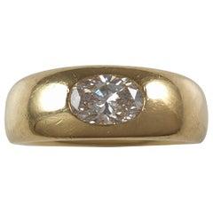 18 Carat Yellow Gold 0.76 Carat Diamond Gypsy Ring