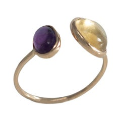 18 Carat Yellow Gold Amethyst and Citrine Ring