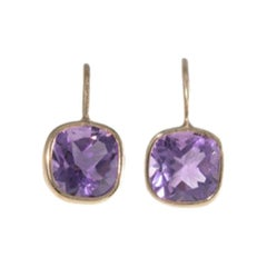 18 Carat Yellow Gold Amethyst Earrings