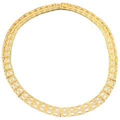 18 Carat Yellow Gold and Diamond Necklace