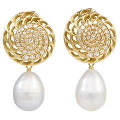 18 Carat Yellow Gold and Freshwater Pearl Diamond Earrings