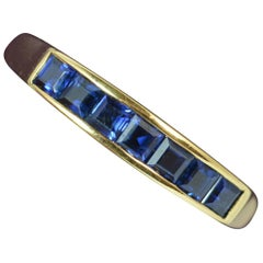 18 Carat Yellow Gold and Sapphire Half Eternity Stack Ring