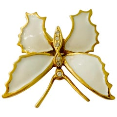 18 Carat Yellow Gold and White Enamel Butterfly Diamond Set Brooch