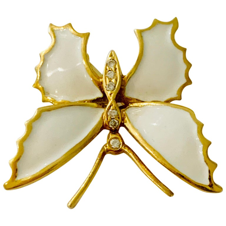 18 Carat Yellow Gold and White Enamel Butterfly Diamond Set Brooch For Sale