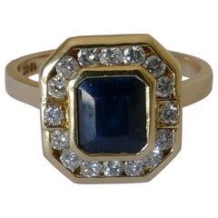 18 Carat Yellow Gold Art Deco Sapphire and Diamond Ring
