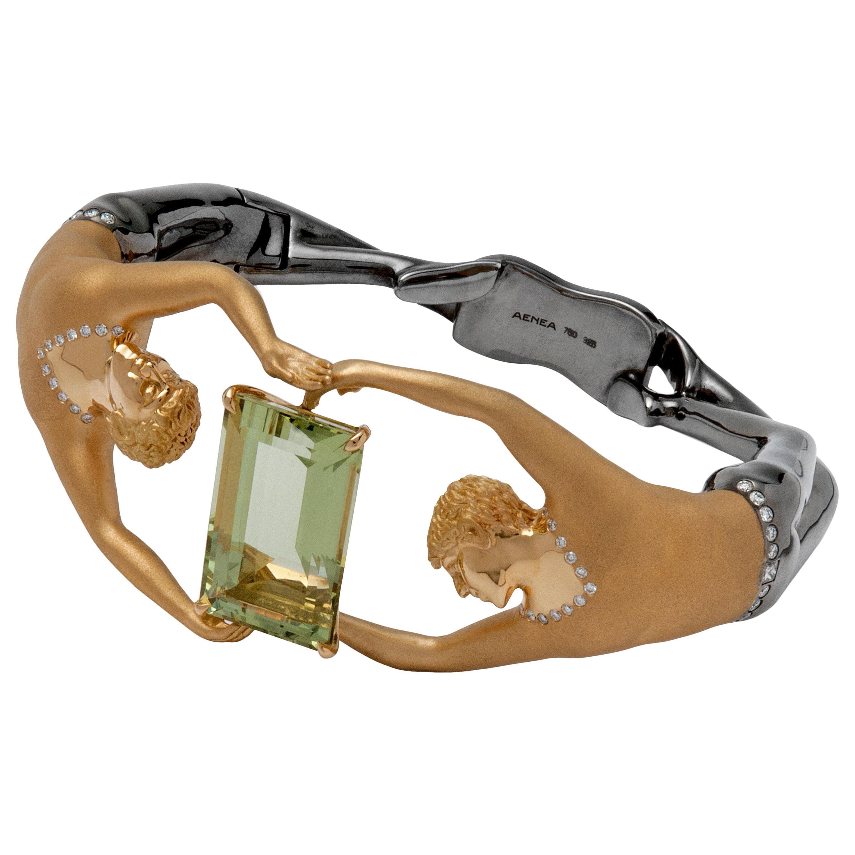 18 Carat Yellow Gold Berry Bangle Aenea Jewellery