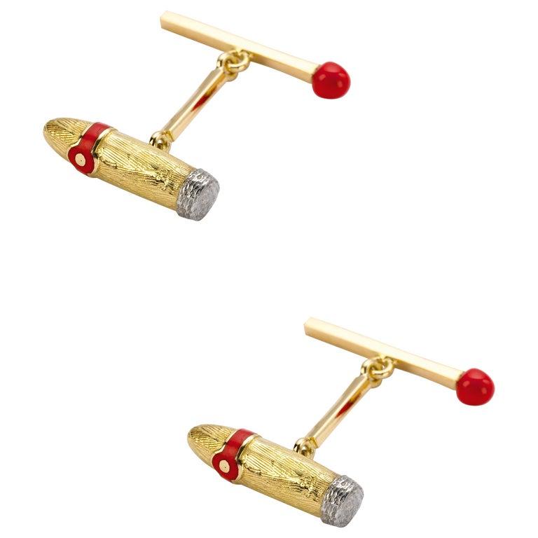 Deakin & Francis 18 Karat Yellow Gold Cigar and Matchstick Cufflinks For Sale