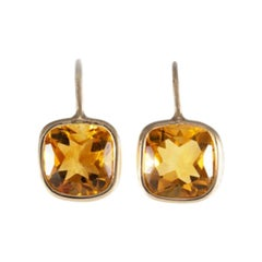 18 Carat Yellow Gold Citrine Earrings