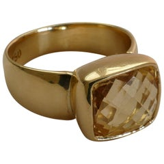 18 Carat Yellow Gold Citrine Ring by Dracakis