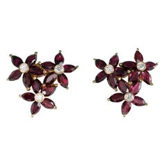 18 Carat Yellow Gold Diamond and Garnet Cluster Earrings