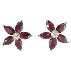 18 Carat Yellow Gold Diamond and Garnet Earrings
