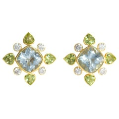 18 Carat Yellow Gold Diamond, Aquamarine and Peridot Earrings