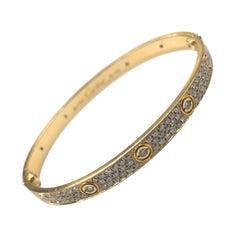 18 Carat Yellow Gold Diamond Cartier Love Bangle