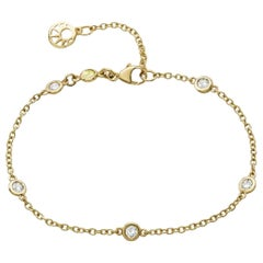 18 Carat Yellow Gold Diamond Chain Bracelet