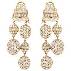 18 Carat Yellow Gold Diamond Chandelier Drop Earrings