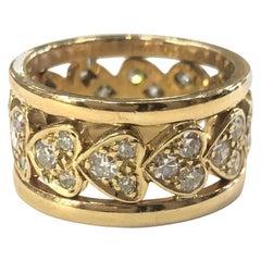 18 Carat Yellow Gold Diamond Heart Band Ring