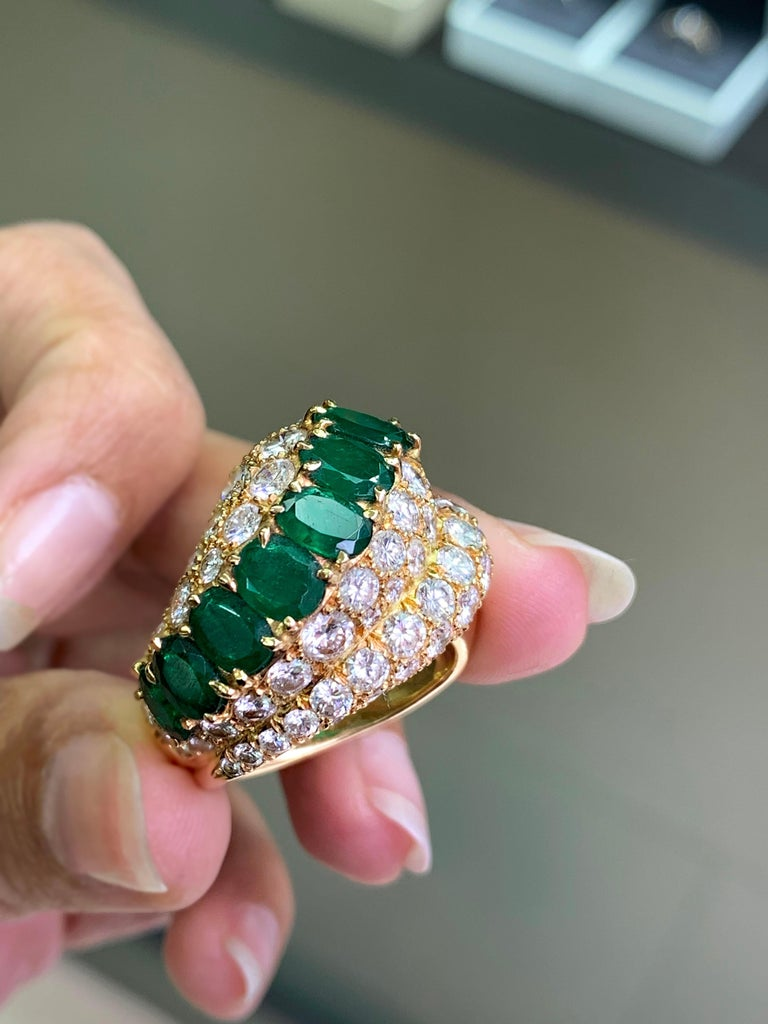 Modern 18 Carat Yellow Gold Emerald and Diamond Cocktail Ring For Sale