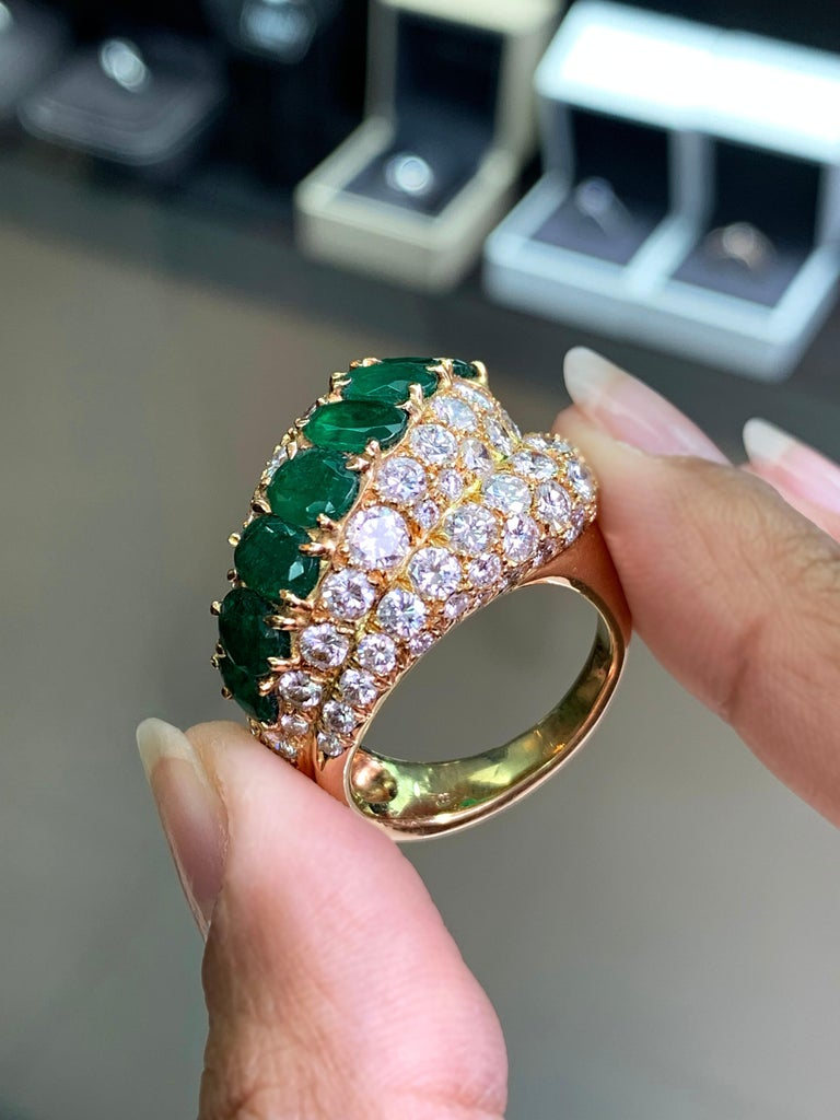 Women's 18 Carat Yellow Gold Emerald and Diamond Cocktail Ring For Sale