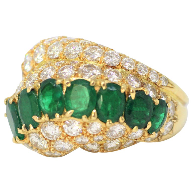 18 Carat Yellow Gold Emerald and Diamond Cocktail Ring For Sale